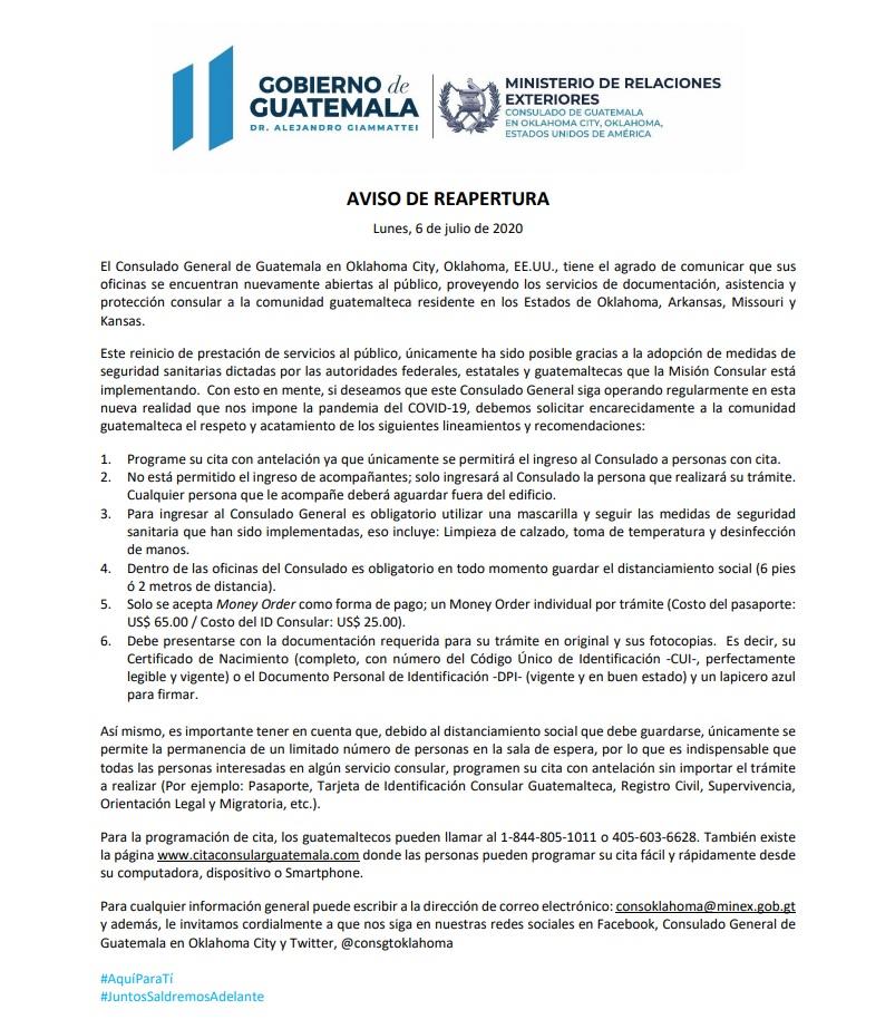 yareabrió elconsulado de GUATEMALA EN OKLAHOMA CITY